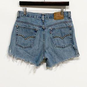 Levi's | VTG 515 Distressed Studded Denim Shorts